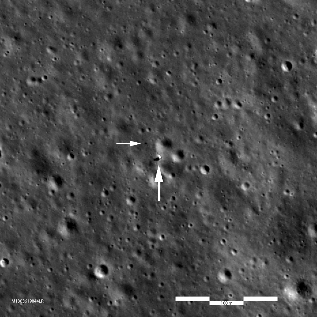 The Chinese rover and lander Chang'e-4 and Yutu-2, seen by NASA's Lunar Reconniassance Orbiter on Feb. 1, 2019. Credit: NASA/GSFC/Arizona State University