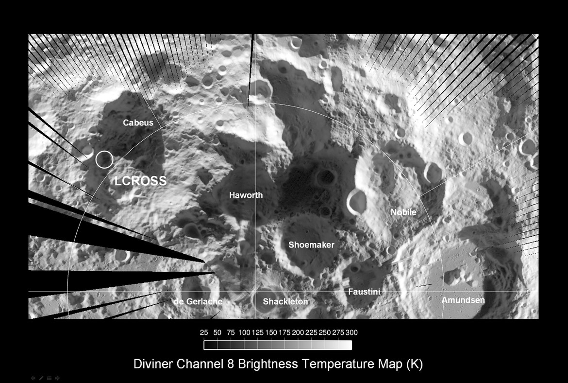 A map of the lunar south pole taken by the LRO Diviner instrument. The image is in the thermal infrared, and measures the temperature of the surface. Credit: NASA/GSFC/Arizona State University
