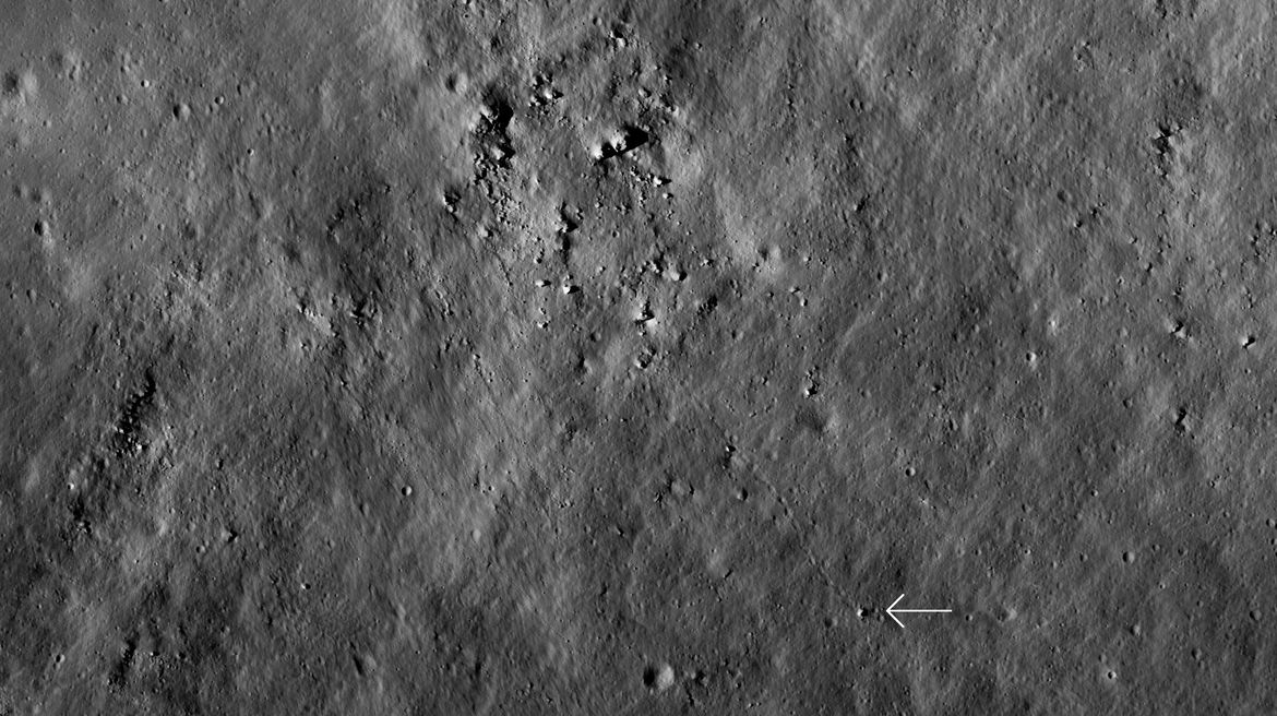 A boulder the size of a house rolled down an incline on the Moon's surface, bouncing for a half kilometer before coming to rest. NASA/GSFC/Arizona State University
