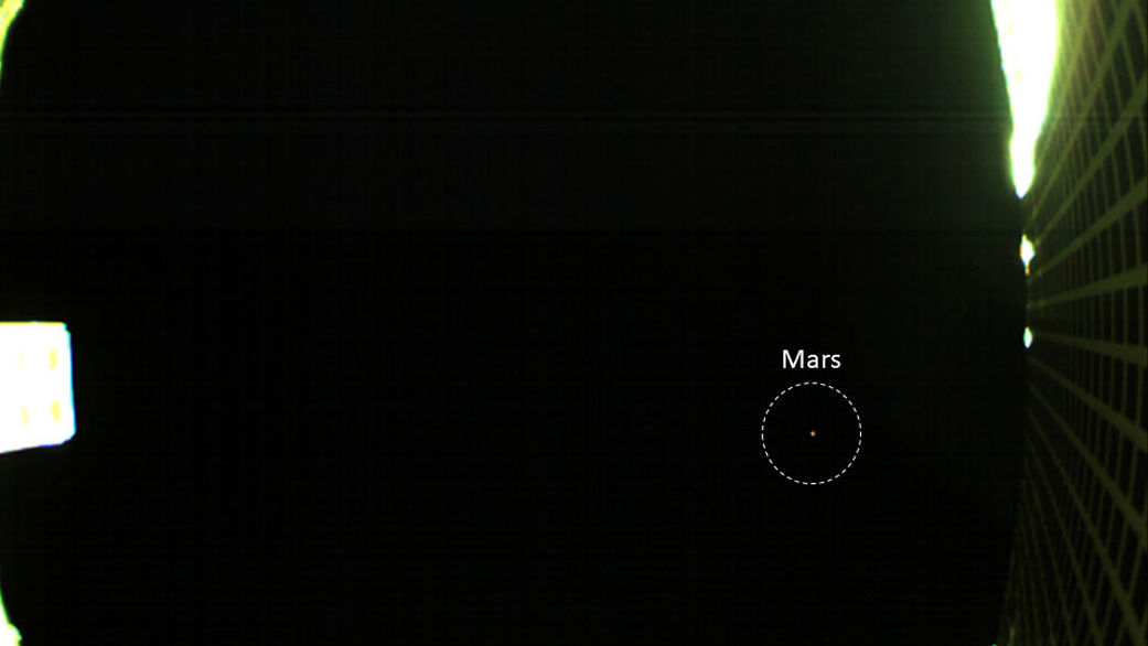 Mars (circled) as seen by MarCO-B, a very tiny spacecraft on its way to the Red Planet. Credit: NASA/JPL-Caltech