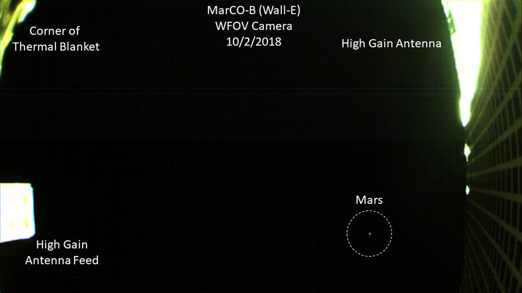Mars (circled) as seen by MarCO-B, along with various parts of the spacecraft labeled. Credit: NASA/JPL-Caltech