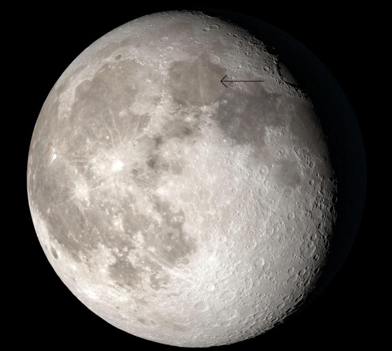 Mare Serenitatis (arrowed), a lunar flood plain. Credit: NASA's Scientific Visualization Studio