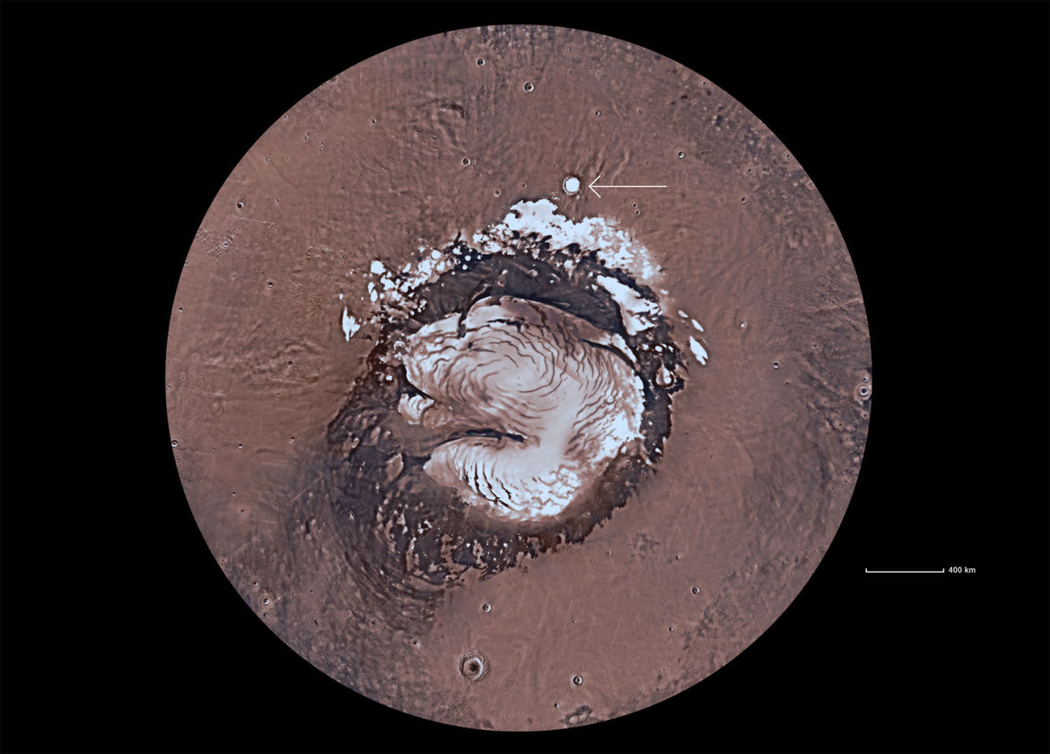 Korolev crater (arrowed) is just outside the permanent north polar ice cap on Mars. Credit: Mars Trek/NASA/JPL-Caltech