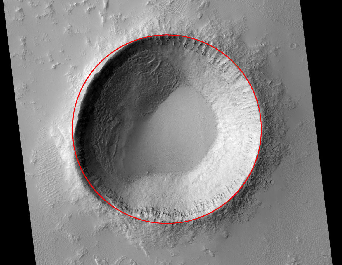 The crater with a circle drawn around it to show how flattened the rim is to the northwest. Credit: NASA/JPL/University of Arizona