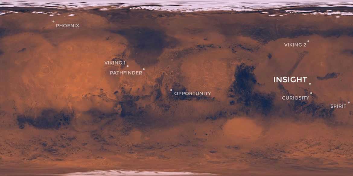 Landing sites for various NASA Mars missions, including InSight (right), located in Elysium Planitia near the equator.  Credit: NASA/JPL-Caltech