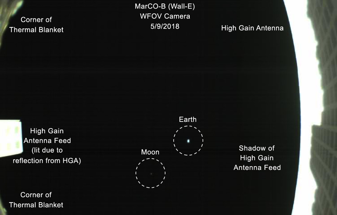 The Earth and Moon from a million kilometers away, seen by Mars Cube One-B on May 8, 2018 (annotated). Credit: NASA/JPL-Caltech