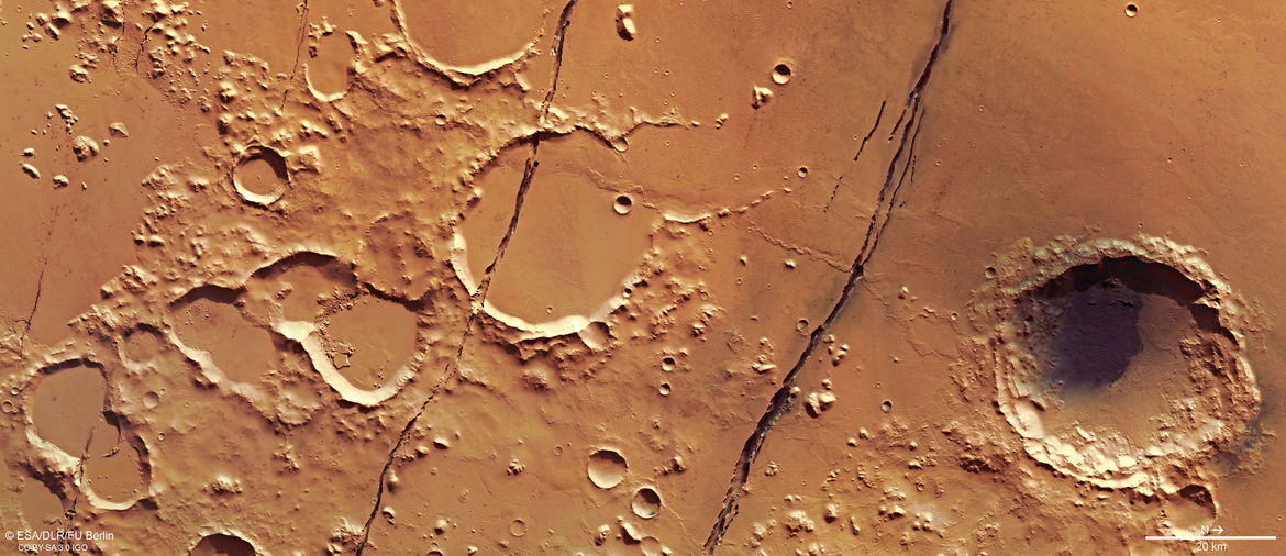 Cerberus Fossae is a set of largely parallel cracks in the surface of Mars near the Equator. Credit: ESA/DLR/FU Berlin, CC BY-SA 3.0 IGO