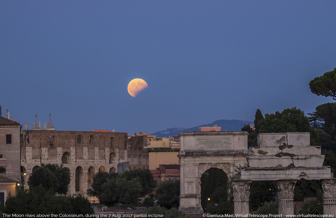 The partially eclipsed Moon over Rome; note the circular shadow of the Earth.