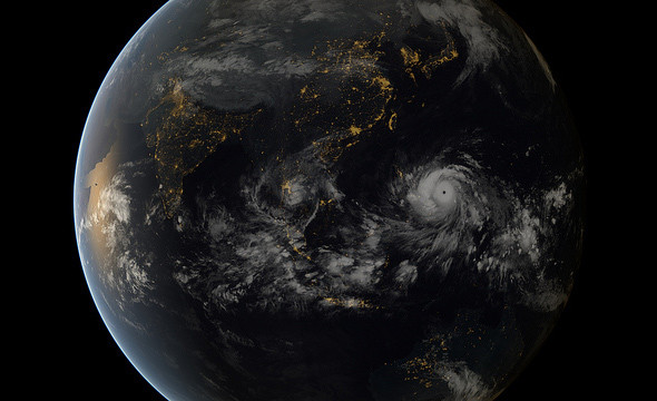 The typhoon Haiyan looks almost serene from a distance of tens of thousands of kilometers... but don't be fooled. Credit: Japan Meteorological Agency and EUMETSAT