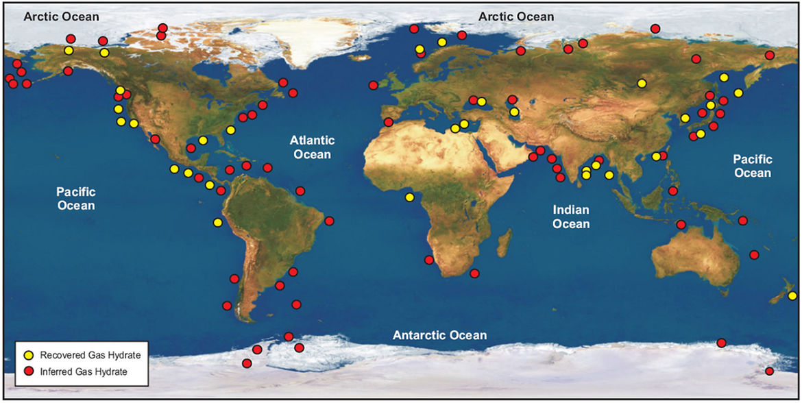 Global locations of methane hydrate deposits, almost always on continental slopes. Credit: Council of Canadian Academies (2008), based on data from Kvenvolden and Rogers (2005) / Global Carbon Project