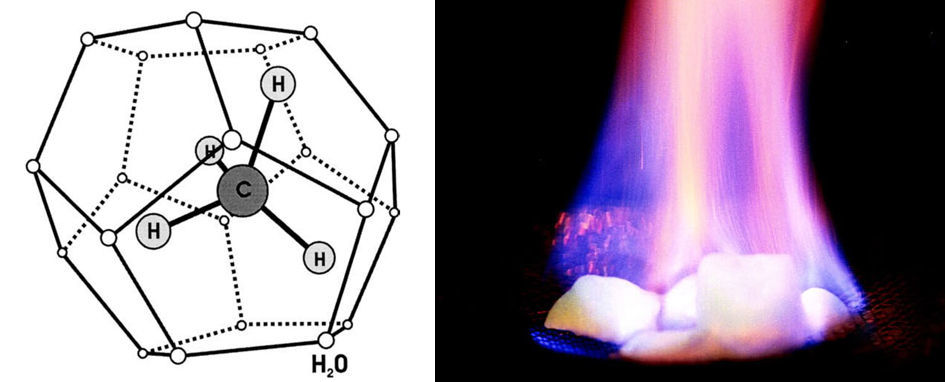 Methane hydrate structure (left) is a cage of interconnected water molecules trapping a methane molecule inside. If exposed to heat, the methane hydrate ice burns. Credit: Beauchamp (structure), USGS (fire)