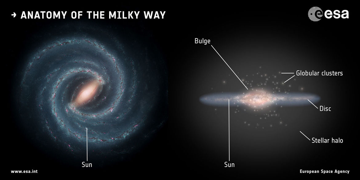 The structure of the Milky Way: A flattened disk with spiral arms (seen face-on, left, and edge-on, right), with a central bulge, a halo, and more than 150 globular clusters. The location of the Sun about halfway out is indicated.