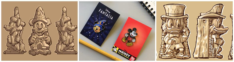Mondo Disney merchandise pins and mugs