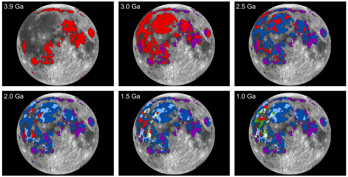 Timeline of the formation of the lunar maria. In each panel, red is the oldest material (so in the second panel, the purple overlays the red; in the third the blue overlays the purple, and so on). Credit: Needham and Kring