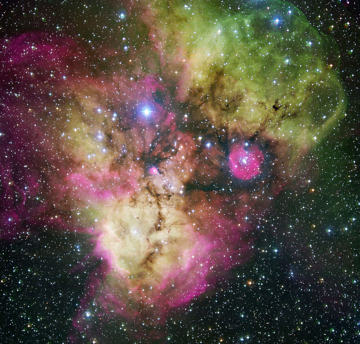 Gas and dust clouds busily churn out stars in the constellation of Puppis, including NGC 2467 (bottom) and Haffner 19 (pink circle on middle right). Credit: ESO