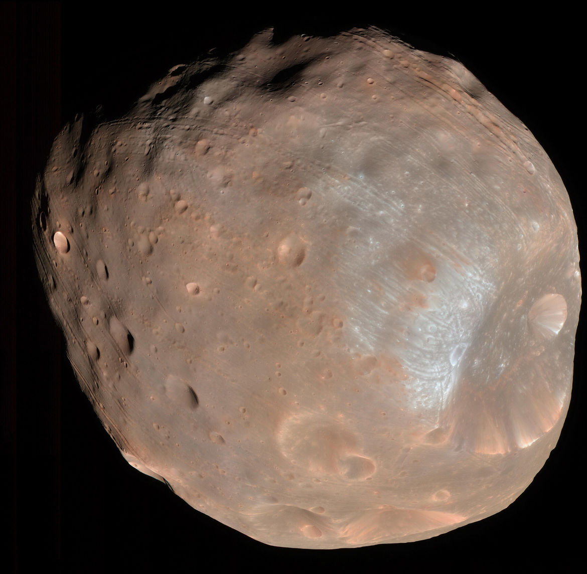 The Martian moon Phobos observed by the Mars Reconnaissance Orbiter, showing the giant crater Stickney and odd grooves covering its surface. Credit: NASA/JPL-Caltech/University of Arizona