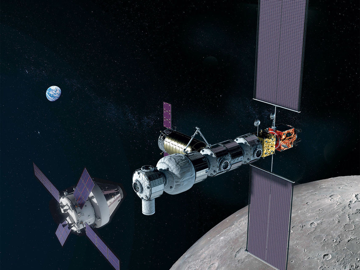 Arwork depicting an Orion crew capsule approaching the Lunar Gateway. Credit: NASA