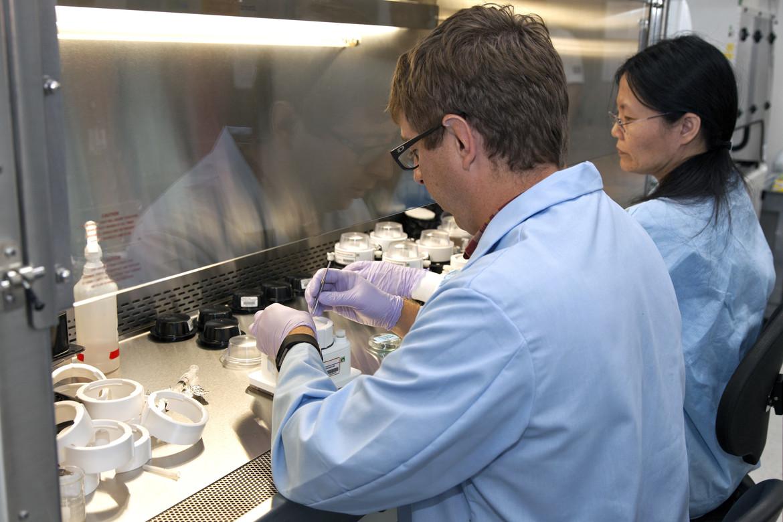 NASA scientists conducting an experiment