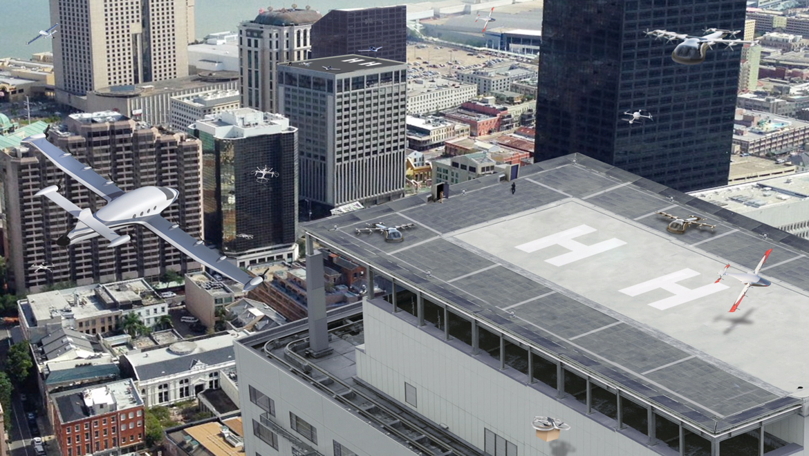 NASA image of flying taxis