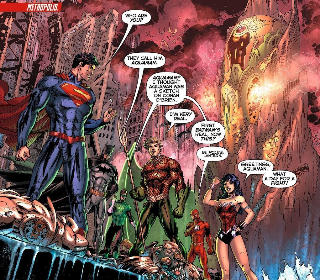 Justice League #4 (2012) written by Geoff Johns, illustrated by Jim Lee.