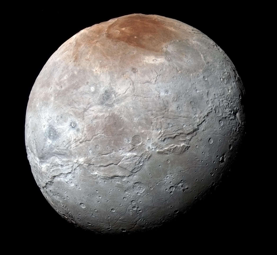 The jumbled mess that is Charon, Pluto's large moon. Credit: NASA/JHUAPL/SwRI