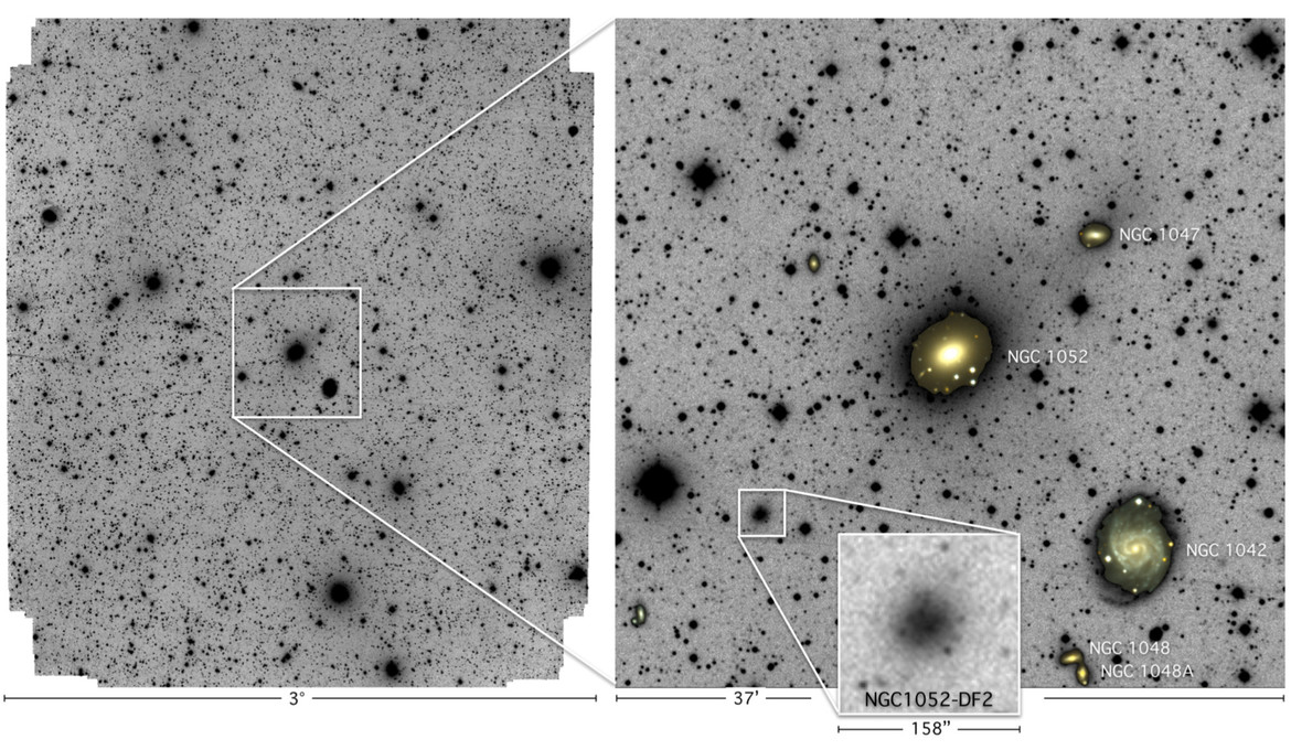 The full Dragonfly field of view (left) shows many galaxies and stars. Inset (right) shows the elliptical galaxy NGC 1052 and, nearby — and barely — NGC 1052-DF2. Credit: P. von Dokkum et al.
