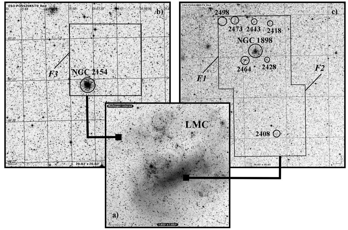 The location of the globular cluster NGC 1898 (right) in the sky is right on top of the most crowded part of the Large Magellanic Cloud, a satellite galaxy to our Milky Way (NGC 2154 (left) is another cluster studied in the research paper).