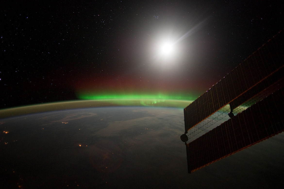 The aurora shines brightly, seen from above by the International Space Station. Credit: NASA/Seán Doran