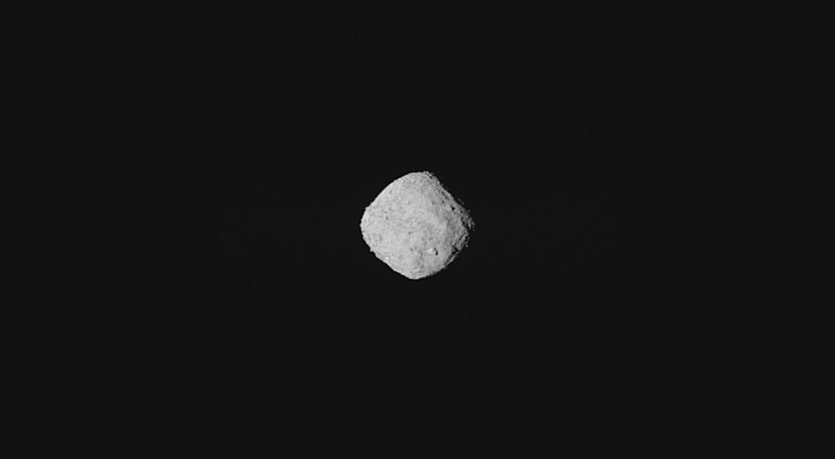 The small asteroid Bennu as seen by the spacecraft OSIRIS-REx from just over 300 km away. Credit: NASA/Goddard/University of Arizona