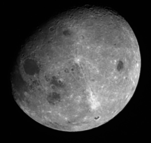 The Moon from 1.2 million kilometers away shows a large amount of the lunar far side, hidden from Earth. Credit: NASA/Goddard/University of Arizona/Lockheed Martin