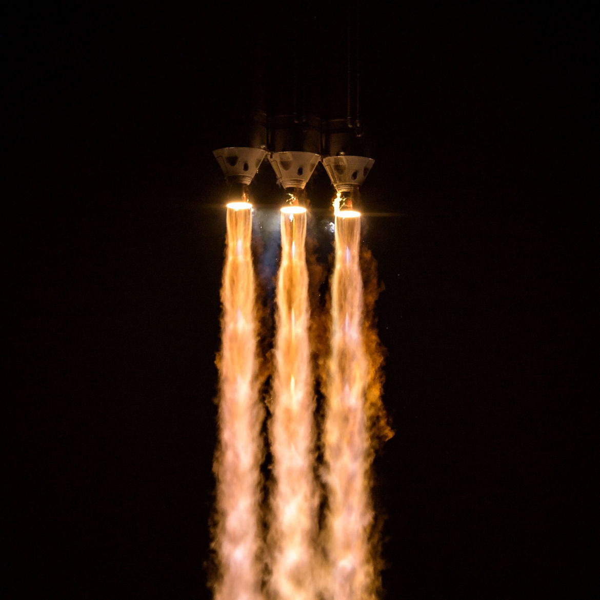 Gorgeous shot of the Delta IV Heavy rocket's engines as it propels the Parker Solar Probe toward the Sun. Credit: NASA/Bill Ingalls