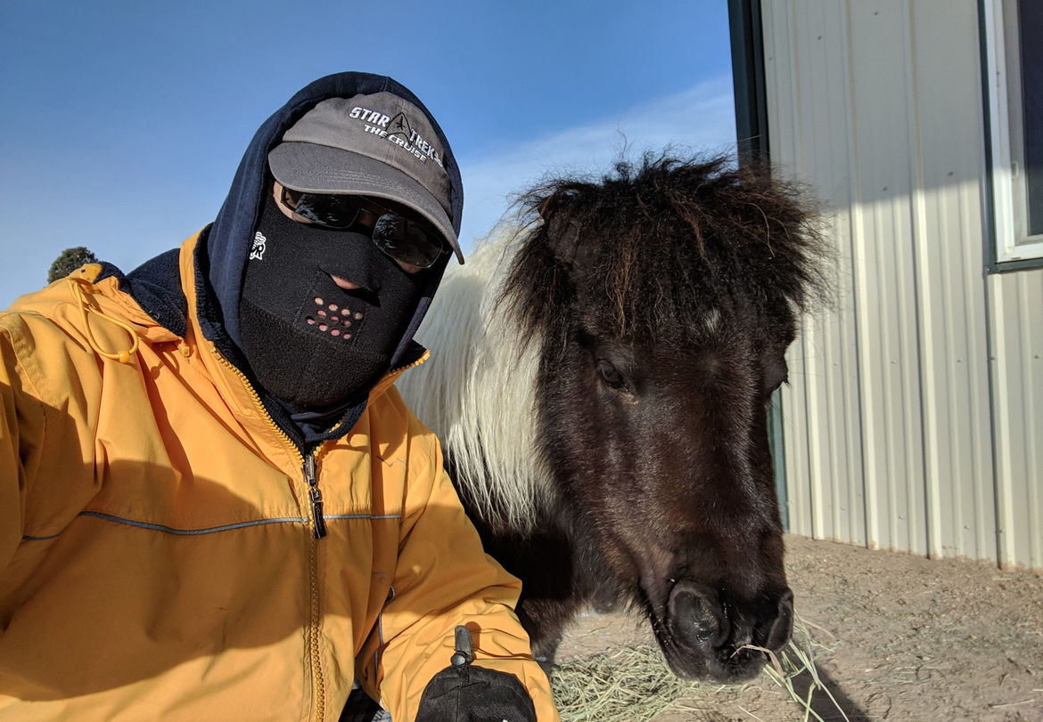 Dressing for the weather on Earth is a little different than for Mars, because this would be considered a warm spring day. The indigenous fauna seem friendly, though. Credit: Phil Plait