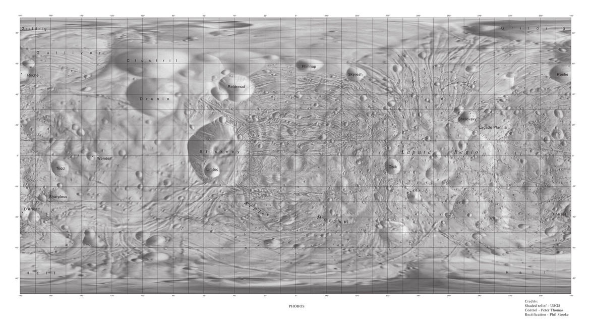 A map of the Martian moon Phobos showing Stickney, Laputa Regio, and the weird grooves covering the surface. Credit: USGS