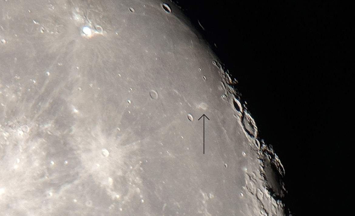 """The """"Lunar Swirl"""", Reiner Gamma, is a feature on the surface of the Moon, lighter in color than the surrounding material due to being protected by a stronger than normal magnetic field embedded under the lunar surface. Credit: Phil Plait"""