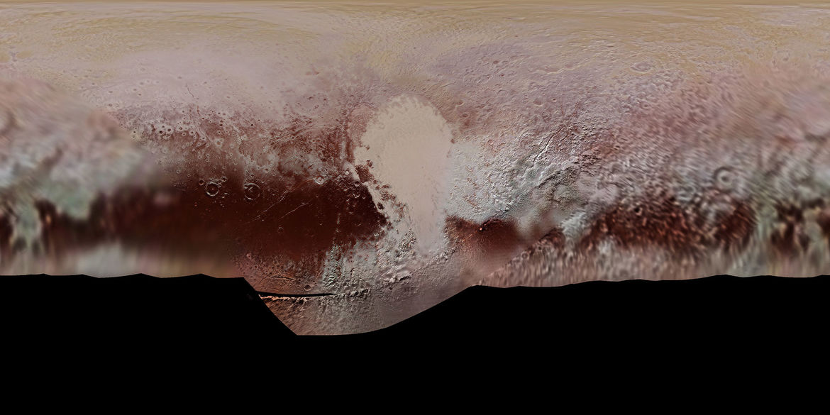 "The terrain of Pluto mapped out using New Horizons observations. Tombaugh Regio, the ""heart"", dominates.  Credit: NASA/JHUAPL/SwRI"