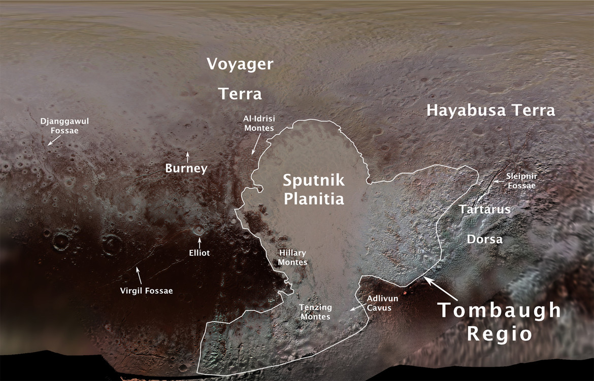 New features have been named on Pluto, based on the unofficial names used by the New Horizons team, many suggested by the public. Credit: NASA/JHUAPL/SwRI/Ross Beyer