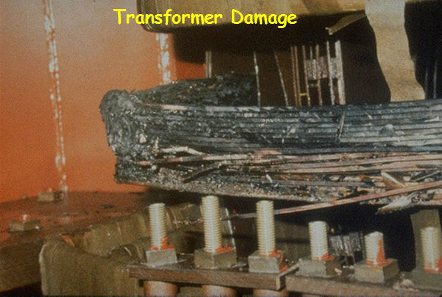 Damage done to a transformer during the 1989 solar storm. Credit: NASA