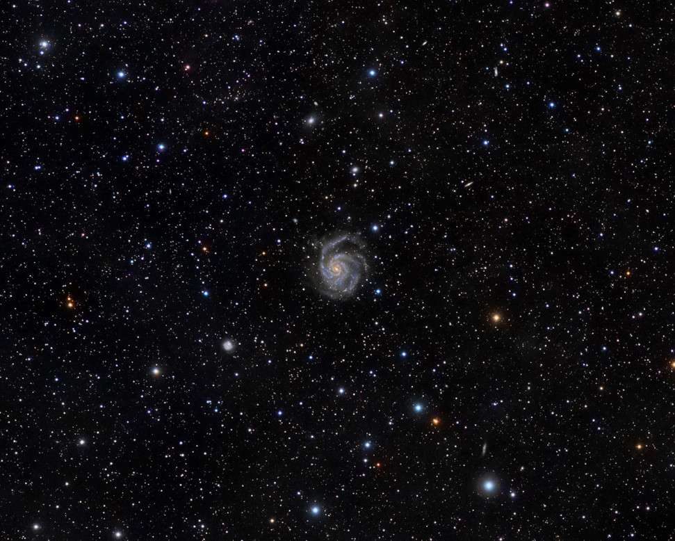 The grogeous spiral galaxy M101 hides near the handle of the Big Dipper. Credit: Rogelio Bernal Andreo