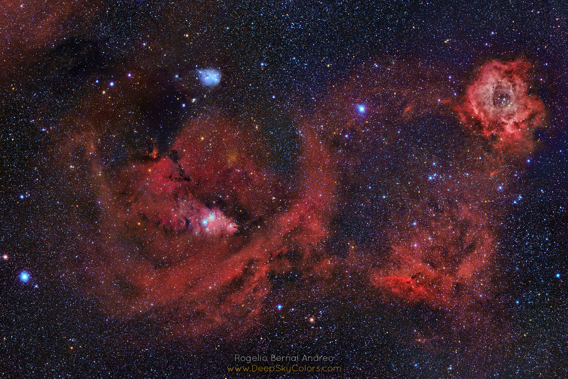 The Rosette Nebula (a huge star-forming gas cloud) and environs, located in the constellation of Monoceros (the Unicorn) not far from Orion. Credit: Rogelio Bernal Andreo