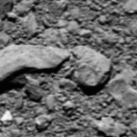 The actual last image taken by Rosetta before landing on the comet. Credit: ESA/Rosetta/MPS for OSIRIS Team MPS/UPD/LAM/IAA/SSO/INTA/UPM/DASP/IDA