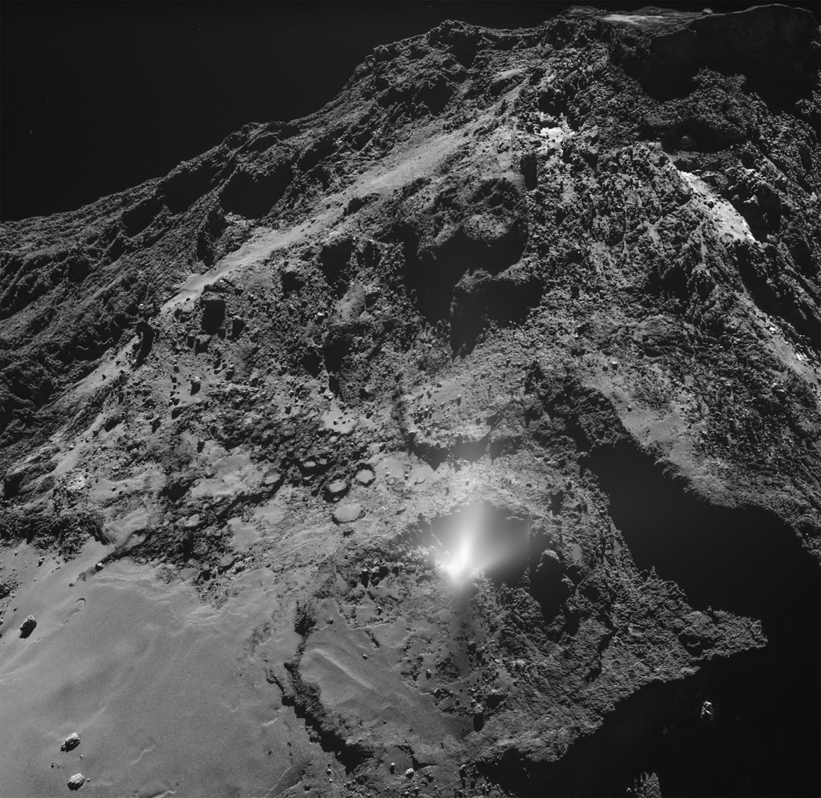 A plume of water and dust erupted on the comet 67/P on July 3, 2016, and was caught on camera by the Rosetta spacecraft from just  kilometers away. Credit: ESA/Rosetta/MPS for OSIRIS Team MPS/UPD/LAM/IAA/SSO/INTA/UPM/DASP/IDA