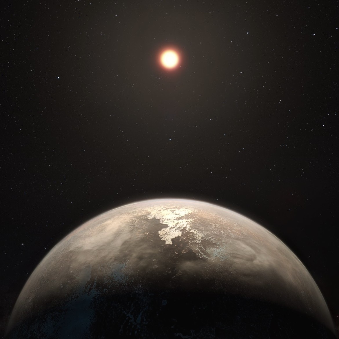 Artwork depicting Ross 128 and its planet. Credit: ESO/ M. Kornmesser