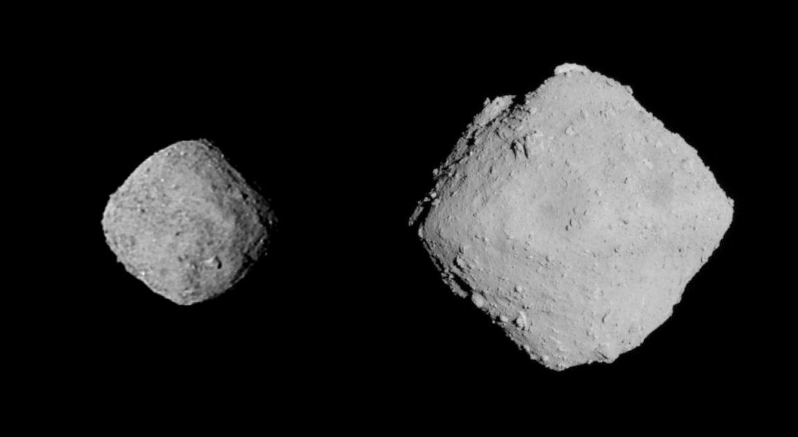 Comparing two small asteroids: 550-m-wide Bennu (left), and 1-km-wide Ryugu (right) roughly to scale.