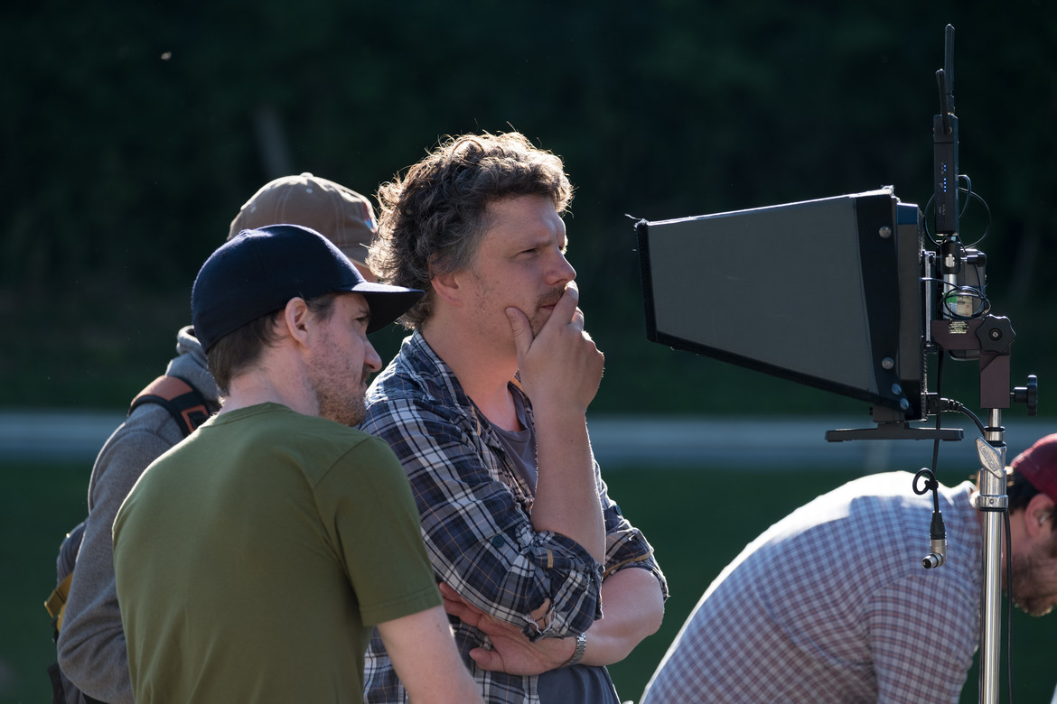 Director Johannes Roberts on the set of The Strangers: Prey at Night