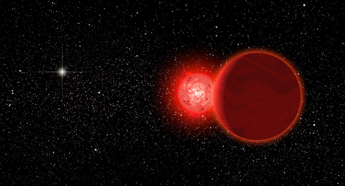 Artwork depicting the red dwarf/brown dwarf binary system called Scholz's stars, which passed near Earth about 70,000 years ago (the Sun appears as a bright star to the left). Credit: Michael Osadciw/University of Rochester