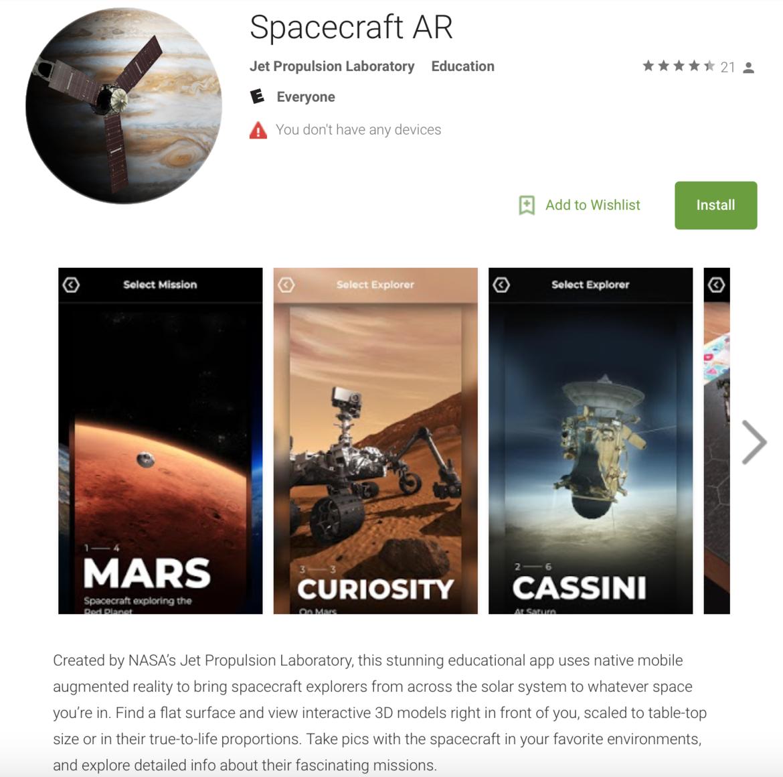 NASA/Google Spacecraft AR augmented reality app
