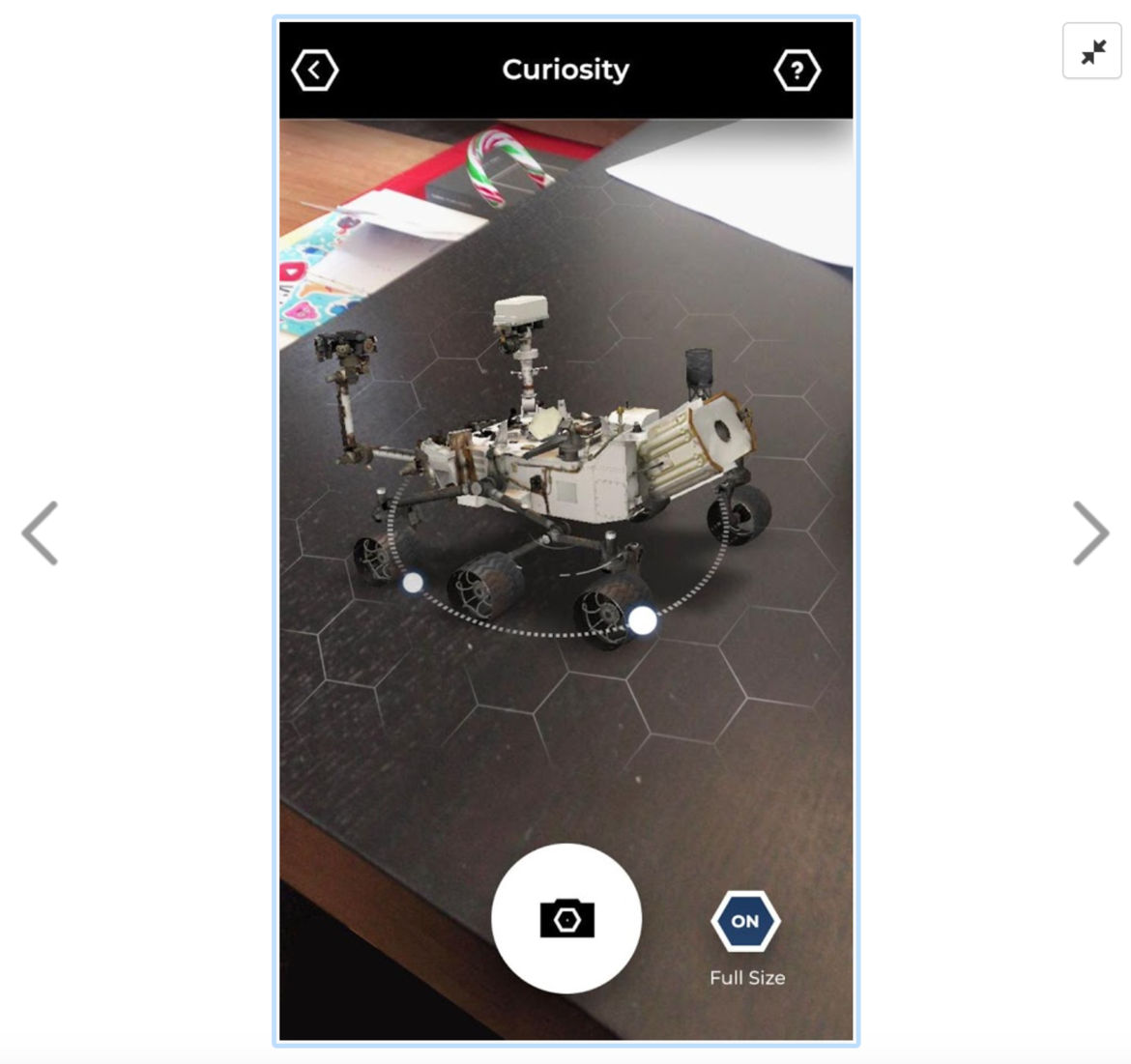 NASA/Google Spacecraft AR augmented reality app