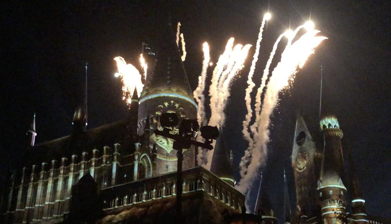 Fireworks Hogwarts Castle nighttime lights