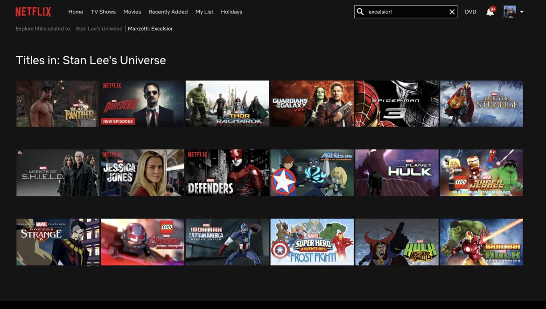 Netflix Search Page