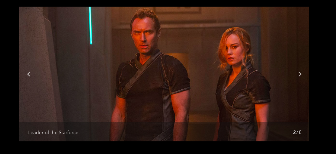 Jude Law Brie Larson Captain Marvel website screenshot